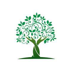 Logo Green Hand Care Tree Circle Icon