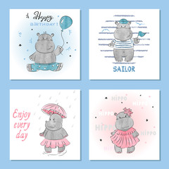 Cute Hippo vector illustrations. Set of birthday greeting cards, posters, prints.