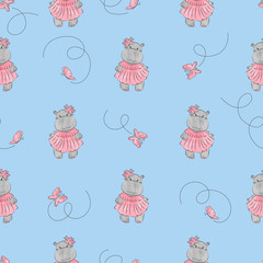 Cute cartoon baby Hippo pattern. Vector seamless background for kids.
