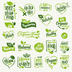 Organic food, farm fresh and natural product stickers and badges collection for food market, ecommerce, organic products promotion, healthy life and premium quality food and drink.