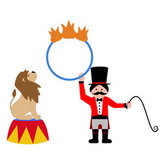 Lion and trainer