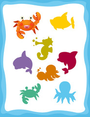 cartoon matching game with sea animals crab / colorful shapes - isolated illustration for children