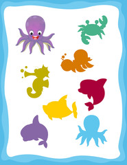 cartoon matching game with sea animals octopus / colorful shapes - isolated illustration for children
