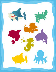 cartoon matching game with sea animals shark / colorful shapes - isolated illustration for children