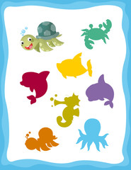 cartoon matching game with sea animals turtle / colorful shapes - isolated illustration for children