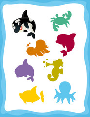 cartoon matching game with sea animals killer whale / colorful shapes - isolated illustration for children