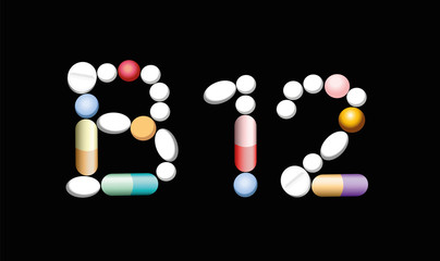 VITAMIN B12 - written with pills, tablets and capsules, symbolic for artificial, synthetic or natural supplement for vegetarians and vegans to prevent lack of vitamins. Illustration, black background.