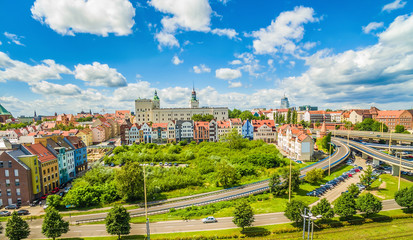 Szczecin - krajobraz starego miasta z widokiem na Zamek Królewski.