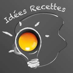 Idée - recette - cuisiner - œuf - ampoule - chef - cuisinier - couverture de livre