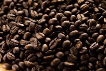 Coffee beans close-up, background