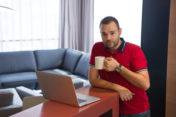 man drinking coffee enjoying relaxing lifestyle