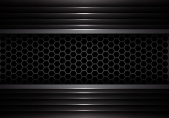 Abstract dark gray hexagon mesh in metal shutter design modern futuristic creative background texture vector illustration.