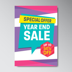 Special Offer Super Sale Poster With Discount Tag Flat Color Memphis Style