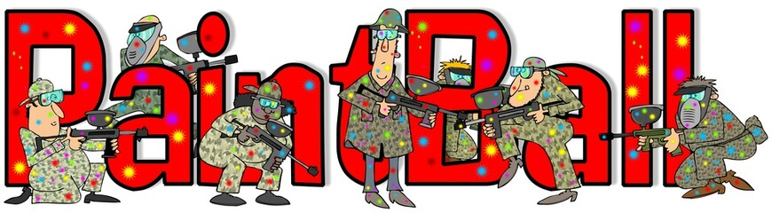Illustration of the word Paintball with people in camouflage shooting guns.