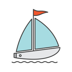 Sailboat color icon
