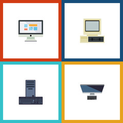 Flat Icon Laptop Set Of Processor, Computer, PC And Other Vector Objects. Also Includes Monitor, Processor, Retro Elements.