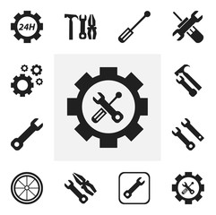 Set Of 12 Editable Mechanic Icons. Includes Symbols Such As Wrench, Service, Wrench Hammer And More. Can Be Used For Web, Mobile, UI And Infographic Design.