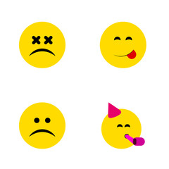 Flat Icon Face Set Of Cross-Eyed Face, Sad, Delicious Food And Other Vector Objects. Also Includes Delicious, Savoring, Fun Elements.
