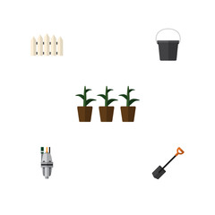 Flat Icon Dacha Set Of Flowerpot, Pump, Spade And Other Vector Objects. Also Includes Spade, Pail, Tool Elements.