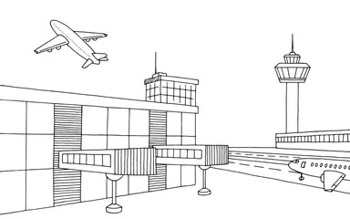 Airport graphic black white sketch illustration vector