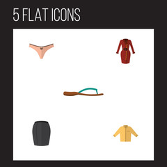 Flat Icon Garment Set Of Lingerie, Stylish Apparel, Clothes And Oth