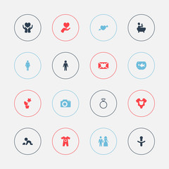 Set Of 16 Editable Kin Icons. Includes Symbols Such As Solitaire Diamond, Save Love, Bodysuit And More. Can Be Used For Web, Mobile, UI And Infographic Design.