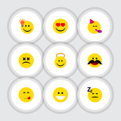 Flat Icon Face Set Of Party Time Emoticon, Cross-Eyed Face, Asleep And Other Vector Objects. Also Includes Emoticon, Face, Idea Elements.