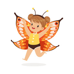 Cute happy little girl dressed as a butterfly, kids carnival costume vector Illustration