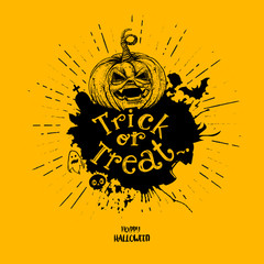 Door stickers Halloween Trick or treat pumpkin with splash
