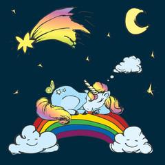 Сute Unicorn sleep on the rainbow,sky with moon,stars and comet