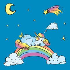 Сute Unicorn sleep on the rainbow