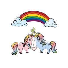 Couple of unicorns and rainbow