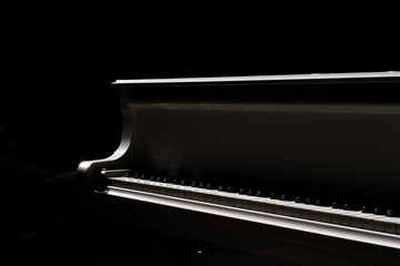 The silhouette of grand piano in a main hall concert.