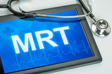 Tablet mit dem Text MRT auf dem Display