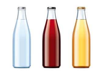 Blank glass bottles with lids of different colors