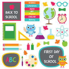 Back to school isolated design elements set