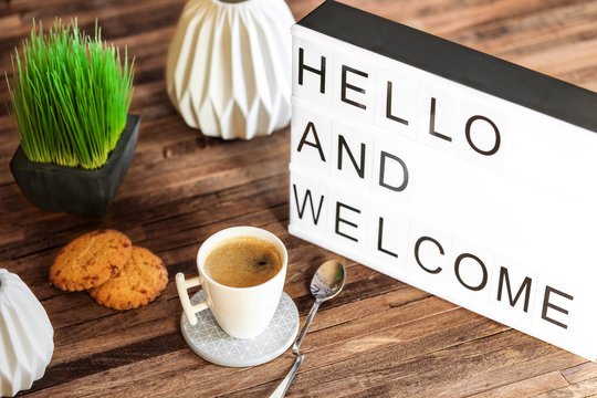 light box message : Hello and welcome