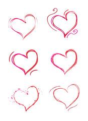 Set of hand draw hearts