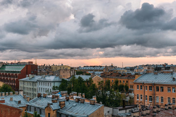 Saint Petersburg view from roof top. St. Petersburg cityscape, dramatic clouds, old buildings, famous tourist place