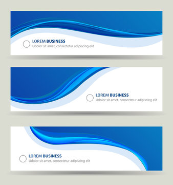 Business banner wave set, card brochure cover template