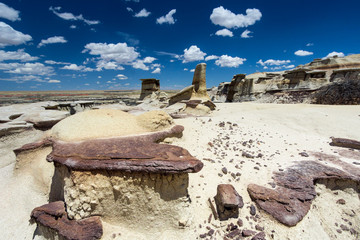 hoodoos or rock formations in a washed out rock desert in the wilderness of northern New Mexico