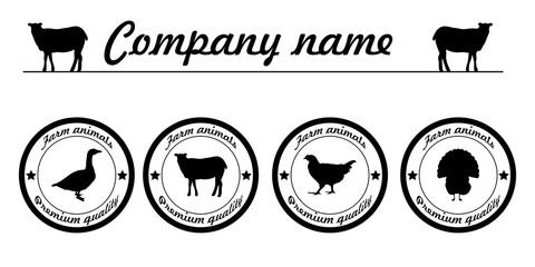 Vector farm animals silhouettes animals farm logo