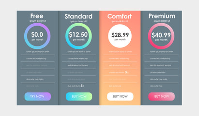 Set of offer tariffs. ui ux vector banner for web app. set of pricing table, order, box, button, list with plan for website in flat design.