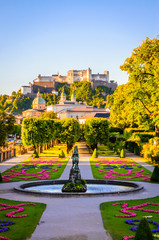 Fototapete - Beautiful view of Fortress Hohensalzburg from famous Mirabell Garden in Salzburg, Austria