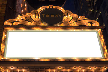 Zelfklevend Fotobehang Theater Marquee Lights Blank Sign