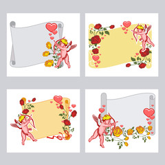 Paper scroll with Cupid, roses and hearts. Cupid with bow hunting for hearts. Design element for greeting cards and presents. Set of vector illustrations.
