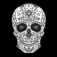 Mexican skull Vector Tattoo, hand drawn, Black and White, T-shirt print