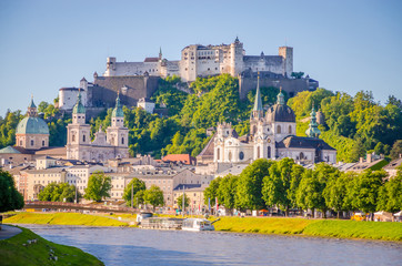 Wall Mural - Beautiful view of Salzburg,  Fortress Hohensalzburg  and Salzach river in summer, Salzburg, Salzburger Land, Austria