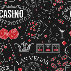 Casino theme. Seamless pattern with decorative elements on chalkboard. Gambling symbols. Vintage vector illustration