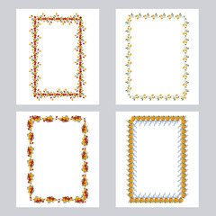 Set of color frames with roses. Design elements for graphic backgrounds. Vector clip art.